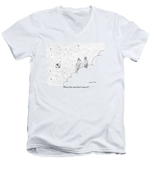 God And An Angel Stand On A Cloud Floating Men's V-Neck T-Shirt
