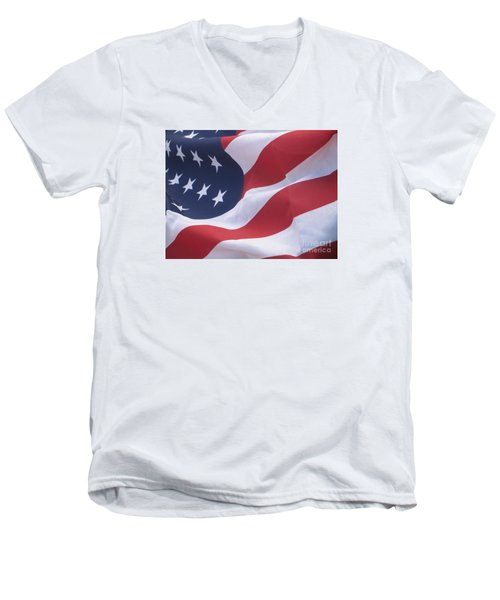 Men's V-Neck T-Shirt featuring the photograph God Bless America by Chrisann Ellis