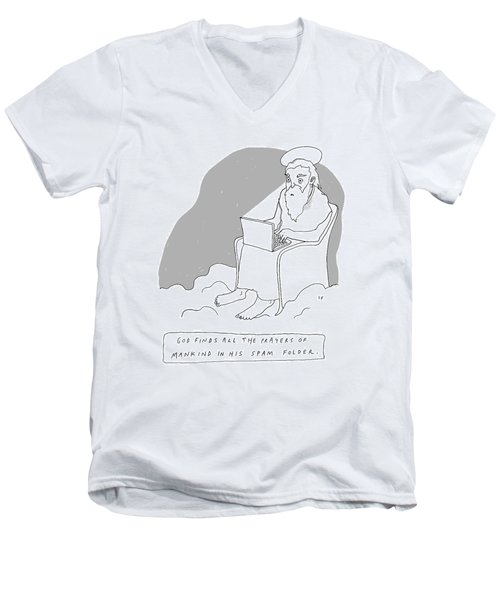 God Sits In A Throne In Heaven Men's V-Neck T-Shirt
