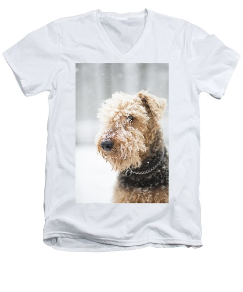 Dog's Portrait Under The Snow Men's V-Neck T-Shirt