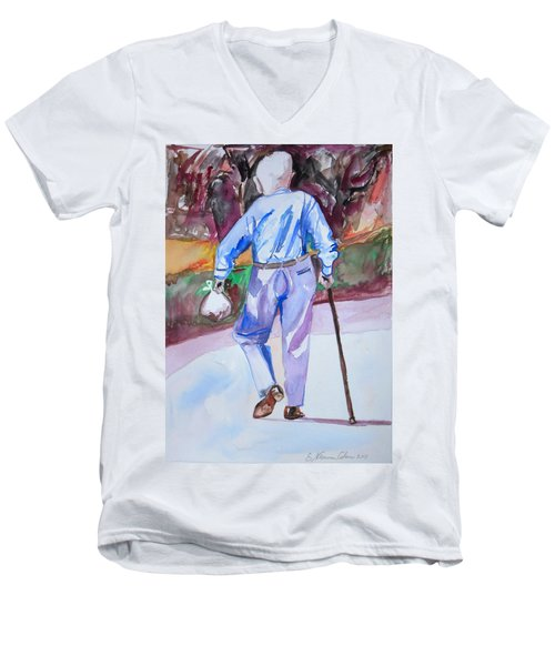 Men's V-Neck T-Shirt featuring the painting Going Home by Esther Newman-Cohen