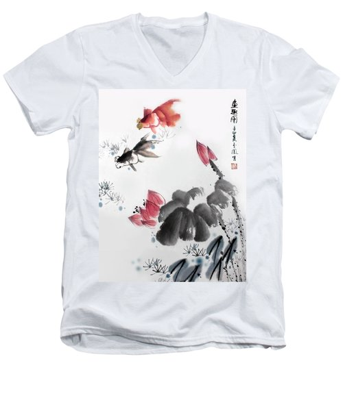 Men's V-Neck T-Shirt featuring the photograph Gold Fish In Lotus Pond by Yufeng Wang