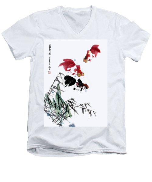Men's V-Neck T-Shirt featuring the painting Gold Fish by Yufeng Wang