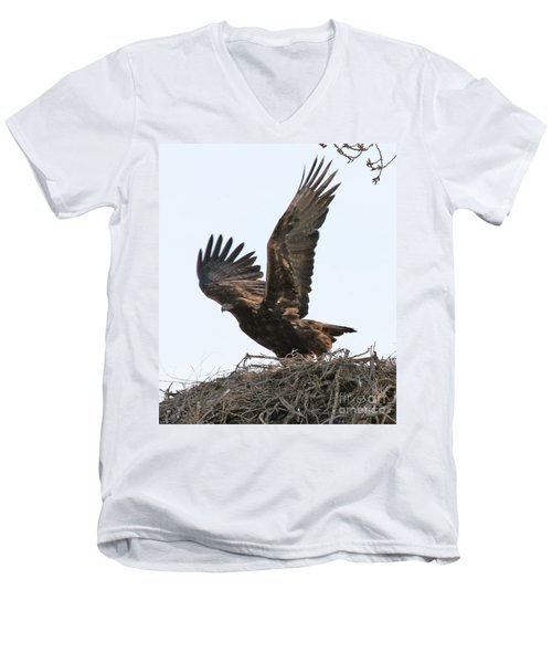 Men's V-Neck T-Shirt featuring the photograph Golden Eagle Takes Off by Bill Gabbert