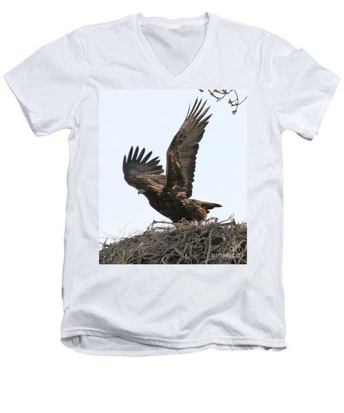 Golden Eagle Takes Off Men's V-Neck T-Shirt by Bill Gabbert