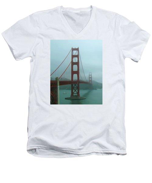 Golden Gate Bridge And Partial Arch In Color  Men's V-Neck T-Shirt