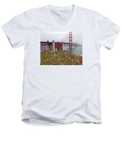 Golden Gate Bridge And Summer Flowers Men's V-Neck T-Shirt