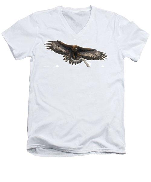 Men's V-Neck T-Shirt featuring the painting Golden Landing by Pat Erickson