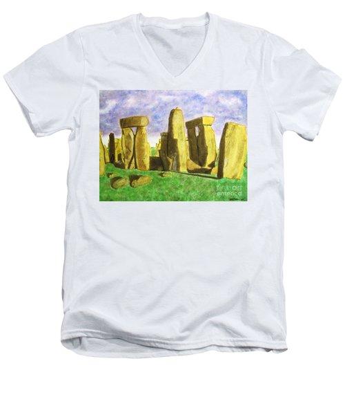 Golden Stonehenge Men's V-Neck T-Shirt