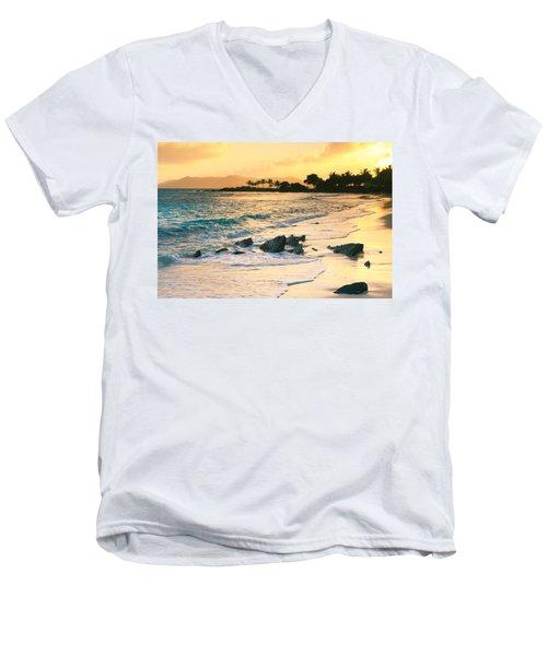 Golden Sunrise On Sapphire Beach Men's V-Neck T-Shirt by Roupen  Baker