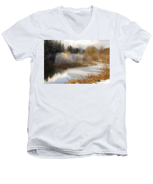 Golden Winter Men's V-Neck T-Shirt by Sonya Lang