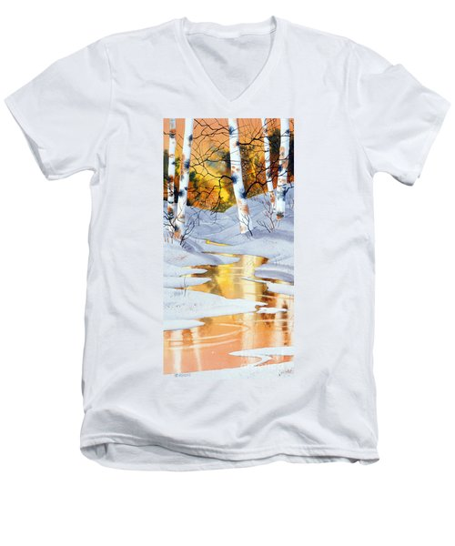 Men's V-Neck T-Shirt featuring the painting Golden Winter by Teresa Ascone