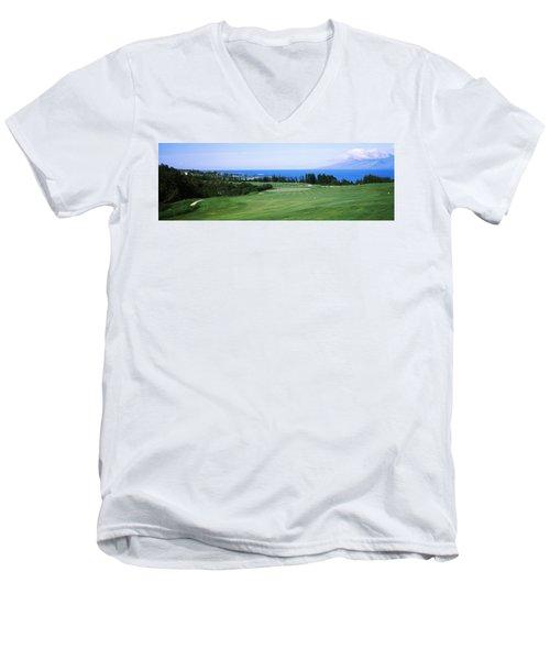 Golf Course At The Oceanside, Kapalua Men's V-Neck T-Shirt