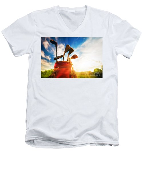 Golf Equipment  Men's V-Neck T-Shirt by Michal Bednarek