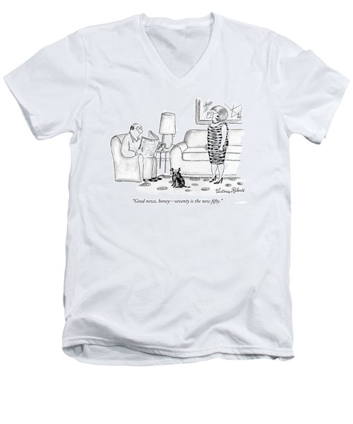 Good News, Honey - Seventy Is The New Fifty Men's V-Neck T-Shirt