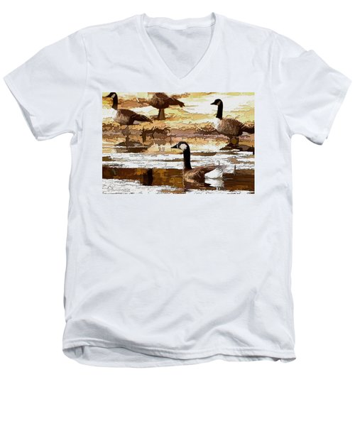 Goose Abstract Men's V-Neck T-Shirt