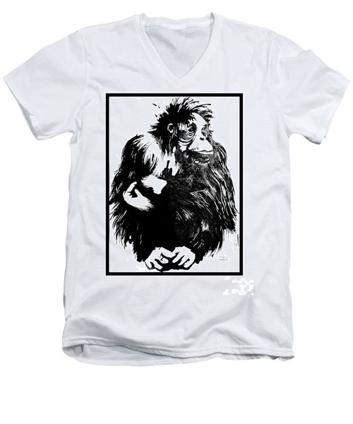 Men's V-Neck T-Shirt featuring the drawing Gorilla Ina Box by Paul Davenport