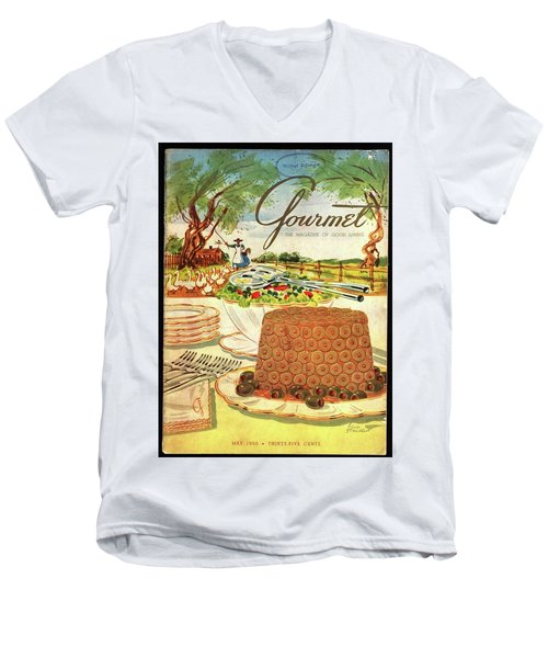 Gourmet Cover Featuring A Buffet Farm Scene Men's V-Neck T-Shirt