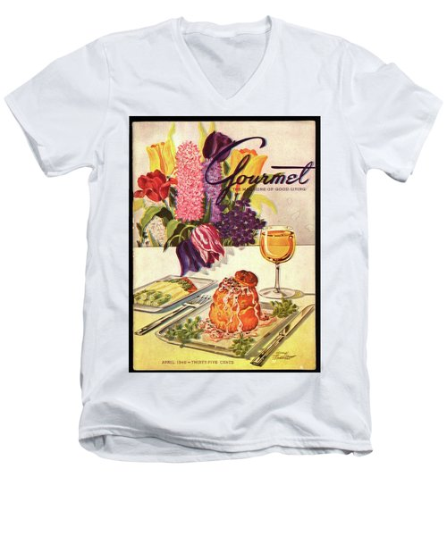 Gourmet Cover Featuring Sweetbread And Asparagus Men's V-Neck T-Shirt by Henry Stahlhut