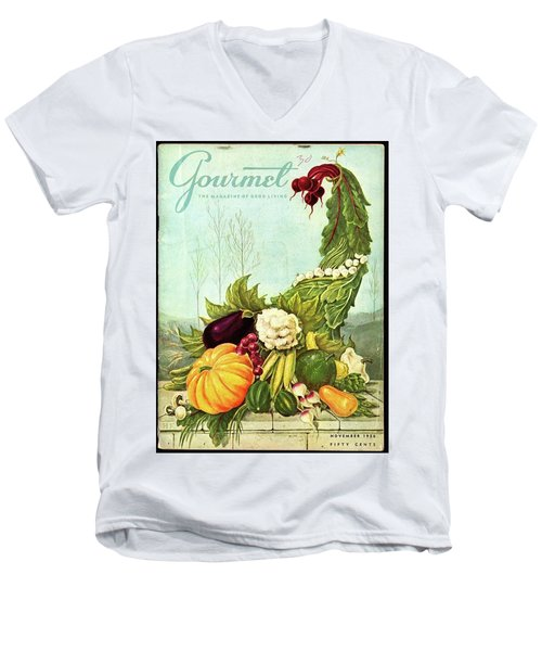 Gourmet Cover Illustration Of A Cornucopia Men's V-Neck T-Shirt