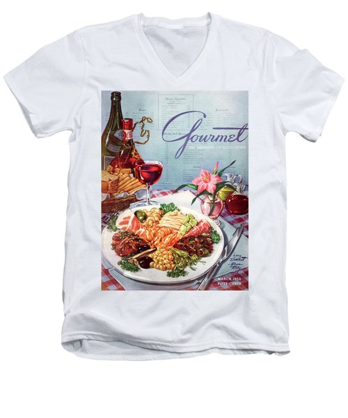 Gourmet Cover Illustration Of A Plate Of Antipasto Men's V-Neck T-Shirt