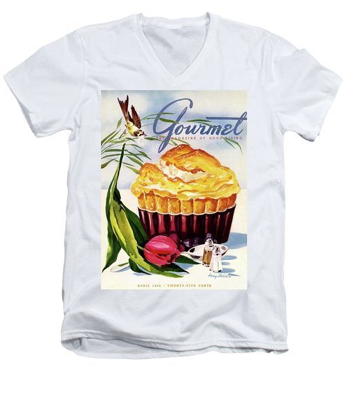 Gourmet Cover Illustration Of A Souffle And Tulip Men's V-Neck T-Shirt