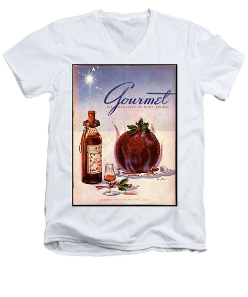 Gourmet Cover Illustration Of Flaming Chocolate Men's V-Neck T-Shirt