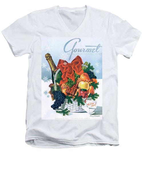 Gourmet Cover Illustration Of Holiday Fruit Basket Men's V-Neck T-Shirt