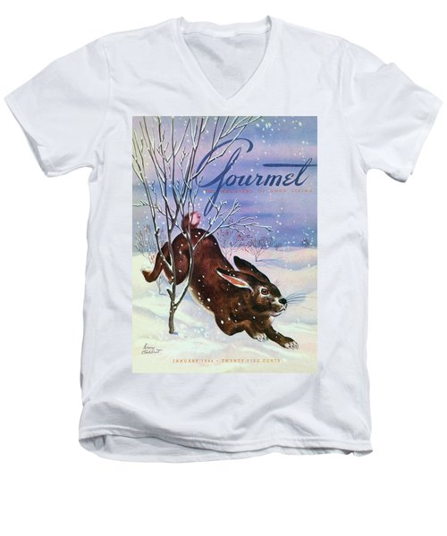 Gourmet Cover Of A Rabbit On Snow Men's V-Neck T-Shirt