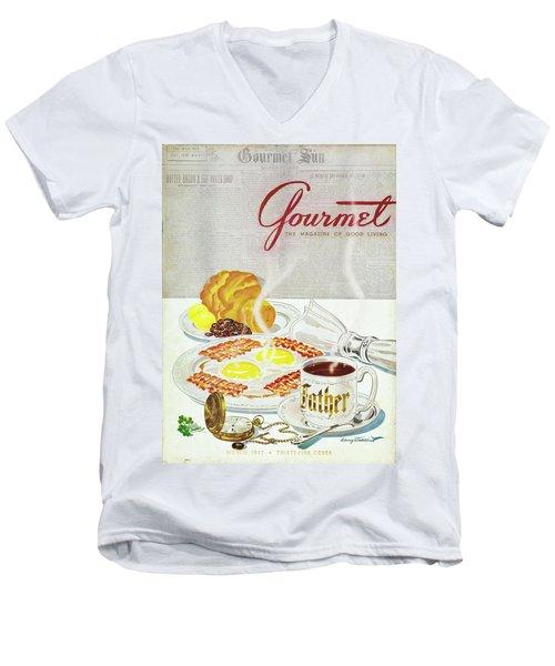 Gourmet Cover Of Breakfast Men's V-Neck T-Shirt