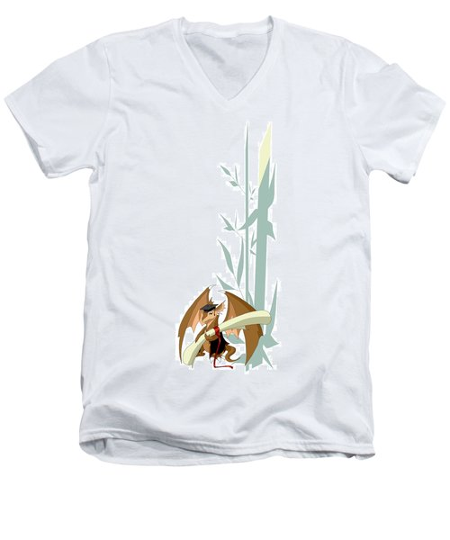 Graduation Dragon With Bamboo Men's V-Neck T-Shirt
