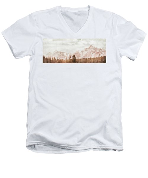 Men's V-Neck T-Shirt featuring the painting Grand Teton Mountains by Greg Collins