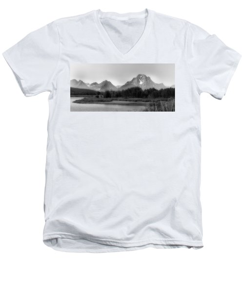 Men's V-Neck T-Shirt featuring the photograph Grand Tetons Bw by Ron White
