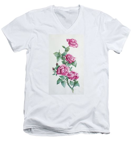 Men's V-Neck T-Shirt featuring the painting Grandma Helen's Roses by Katherine Young-Beck