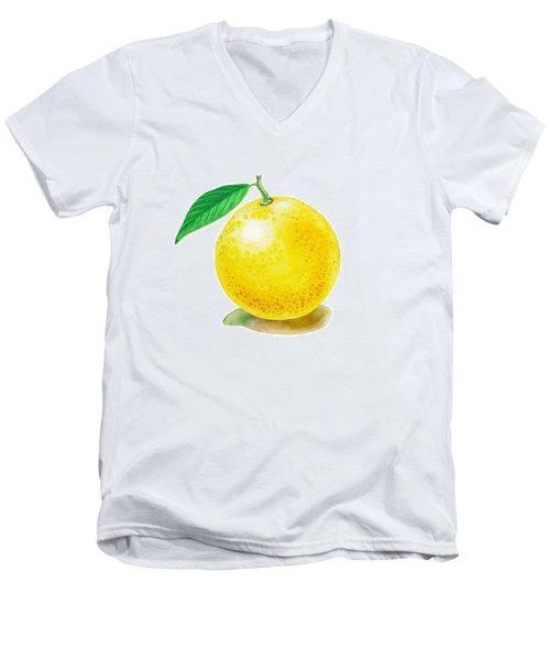 Grapefruit Men's V-Neck T-Shirt by Irina Sztukowski