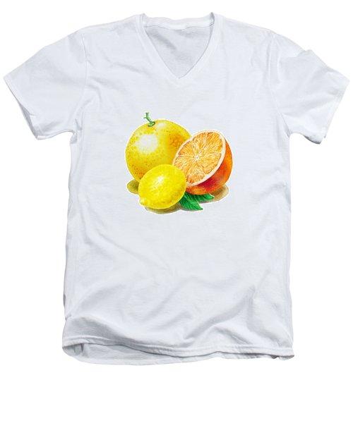 Grapefruit Lemon Orange Men's V-Neck T-Shirt by Irina Sztukowski