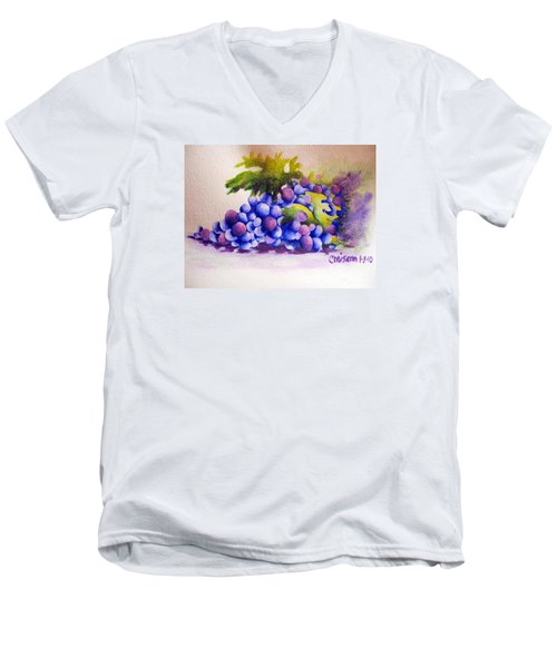 Men's V-Neck T-Shirt featuring the painting Grapes by Chrisann Ellis