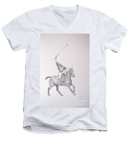 Graphite Drawing - Shooting For The Polo Goal Men's V-Neck T-Shirt