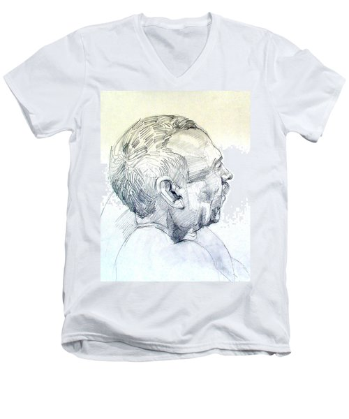 Graphite Portrait Sketch Of A Man In Profile Men's V-Neck T-Shirt