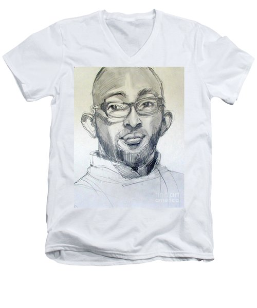 Men's V-Neck T-Shirt featuring the drawing Graphite Portrait Sketch Of A Young Man With Glasses by Greta Corens