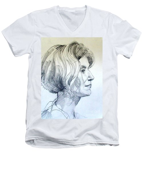 Portrait Drawing Of A Woman In Profile Men's V-Neck T-Shirt