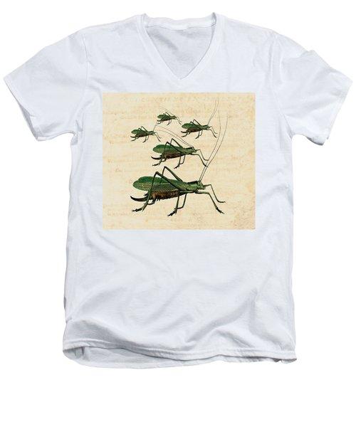 Grasshopper Parade Men's V-Neck T-Shirt by Antique Images