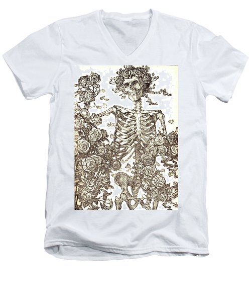 Men's V-Neck T-Shirt featuring the photograph Gratefully Dead Skeleton by Kelly Awad