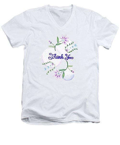 Men's V-Neck T-Shirt featuring the drawing Gratitude by Keiko Katsuta