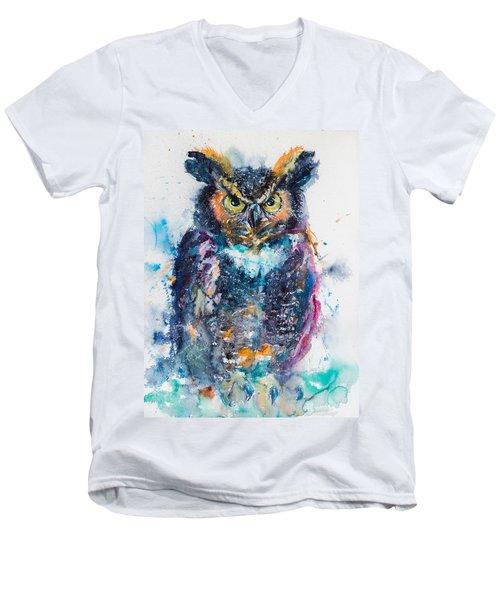 Great Horned Owl Men's V-Neck T-Shirt by Kovacs Anna Brigitta