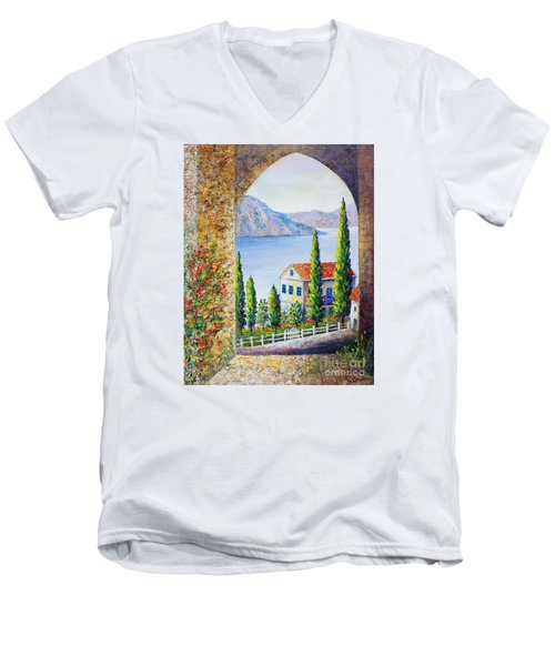 Men's V-Neck T-Shirt featuring the painting Greek Arch Vista by Lou Ann Bagnall
