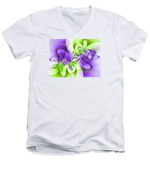 Green And Purple Men's V-Neck T-Shirt by Lena Auxier