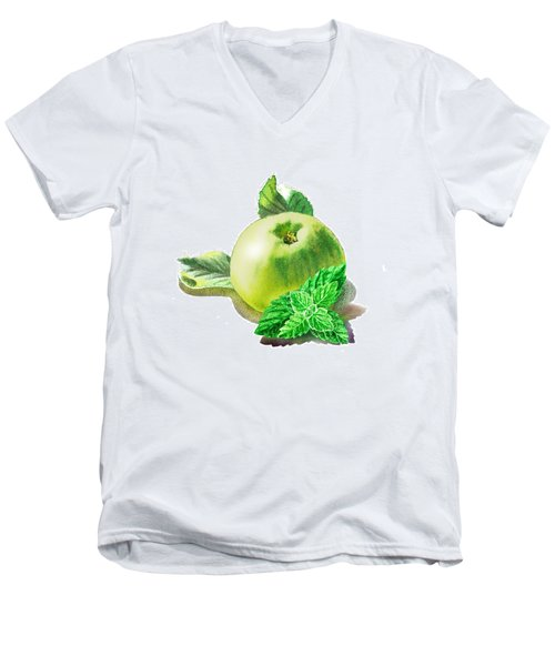 Green Apple And Mint Happy Union Men's V-Neck T-Shirt by Irina Sztukowski