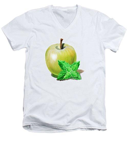 Green Apple And Mint Men's V-Neck T-Shirt by Irina Sztukowski
