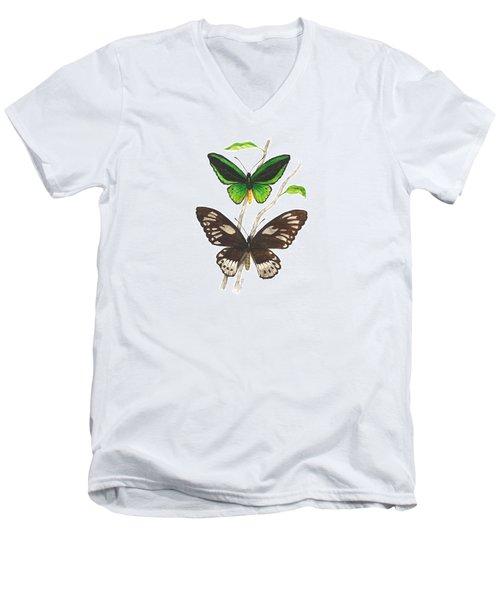 Green Birdwing Butterfly Men's V-Neck T-Shirt by Cindy Hitchcock